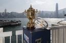 The Webb Ellis Trophy looks out over Victoria Harbour, Hong Kong, on the latest leg of it World Tour