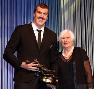 New Zealand's Brodie Retallick takes the Kelvin R Tremain Player of the Year award, Auckland, December 11, 2014