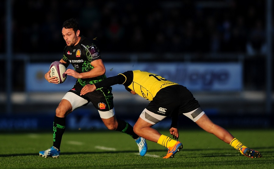 Exeter's Phil Dollman is tackled by La Rochelle's Alofa Alofa