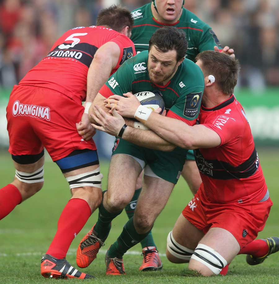 Leicester's Matt Smith is halted by the Toulon defence