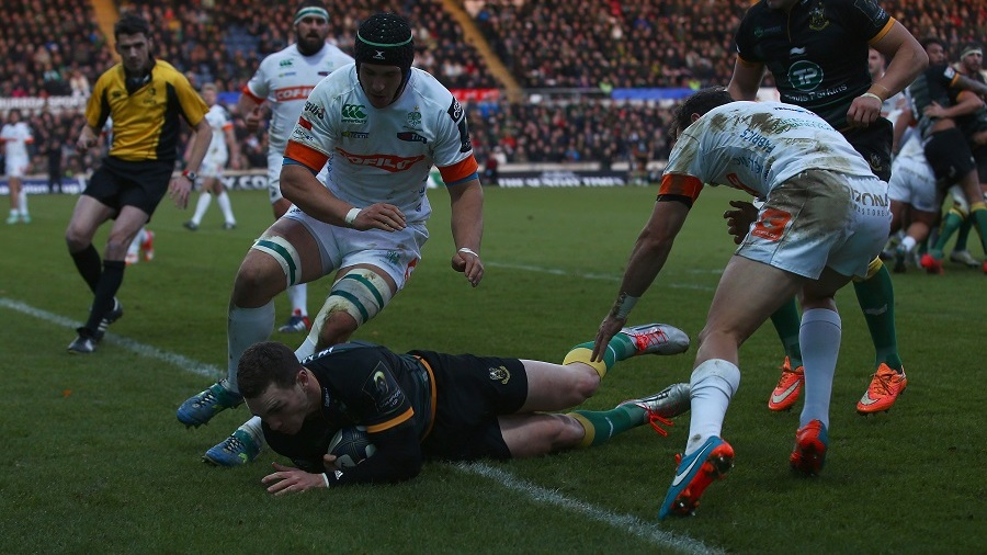 George North crashes over for Northampton's second try, Northampton Saints v Treviso, European Champions Cup, Franklin's Gardens, Northampton, December 13, 2014