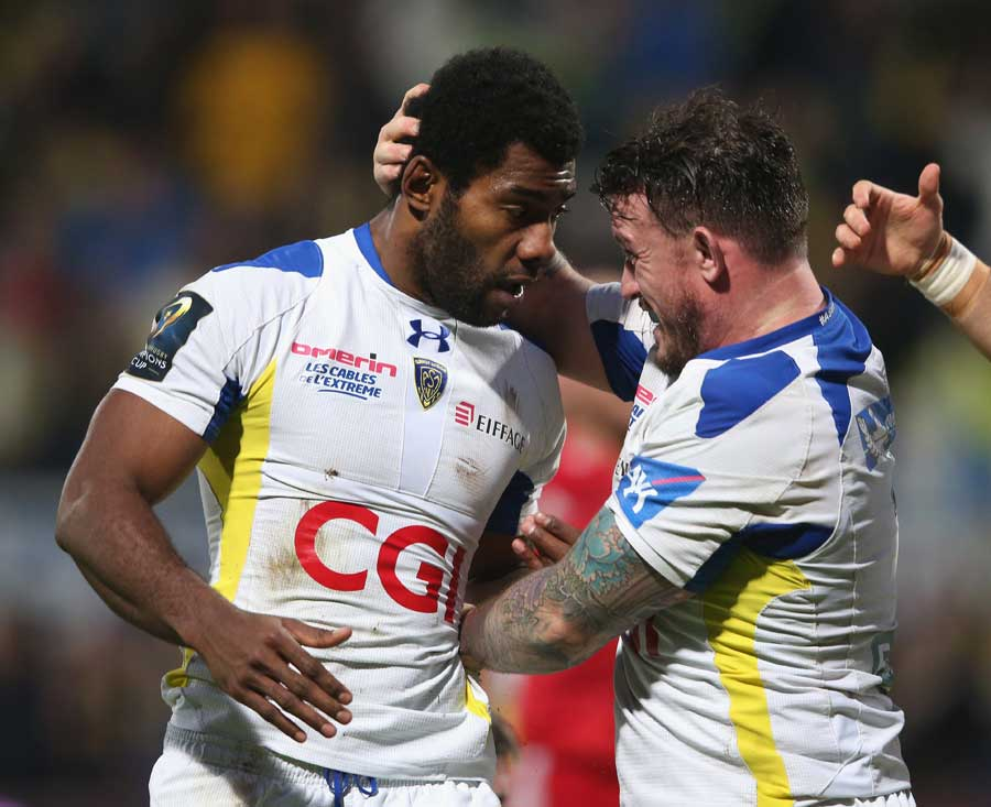 Clermont's Noa Nakaitaci is congratulated on his try