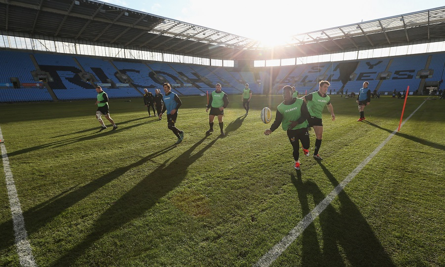 Wasps players train at the Ricoh Arena for the first time
