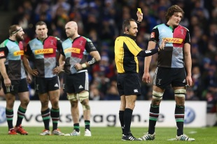 Referee Romain Poite shows Charlie Matthews a yellow card, Leinster Rugby v Harlequins, European Rugby Champions Cup, Aviva Stadium, Dublin, December 13, 2014