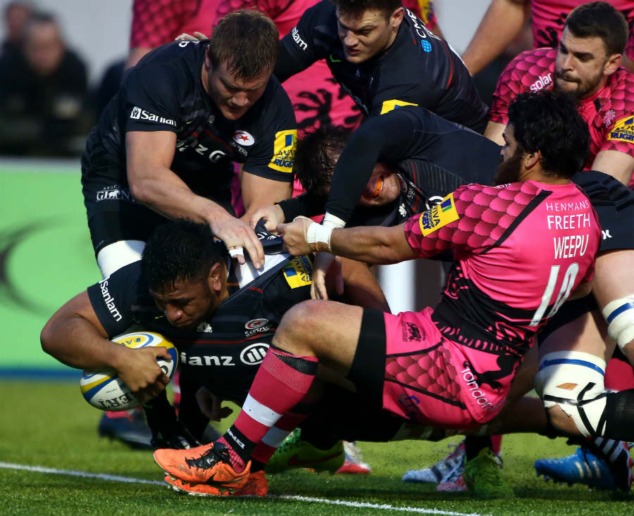 Saracens' Mako Vunipola dots the ball down