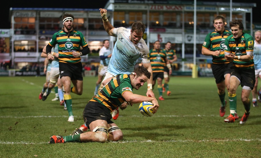 Calum Clark touches down for a Northampton try