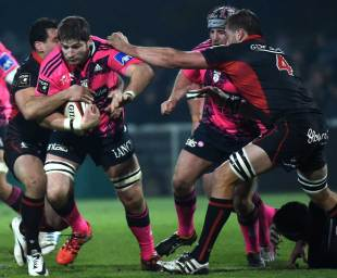 Stade Francais' Pascal Pape tries to make some yards against Lyon, Lyon v Stade Francais, Top 14, Matmut Stadium, January 2, 2015