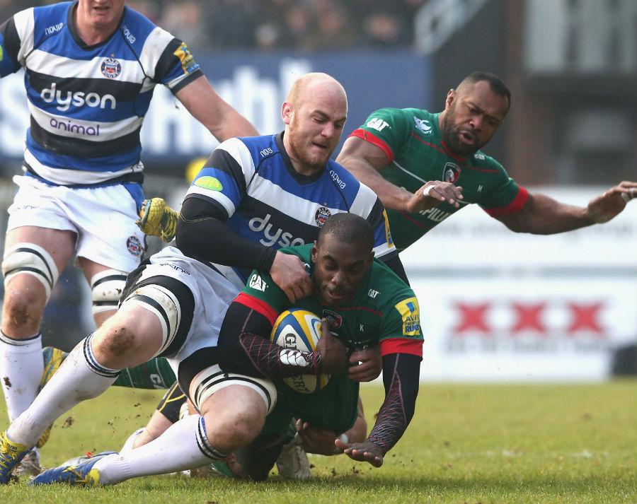 Bath's Matt Garvey tackles Leicester's Miles Benjamin