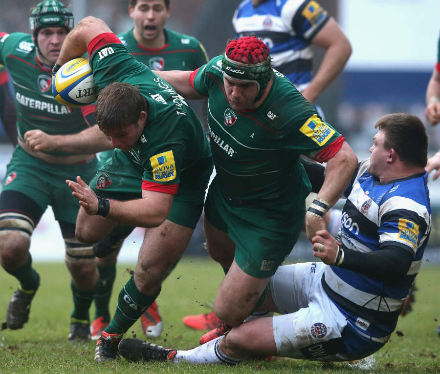Leicester's Tom Youngs carries forward