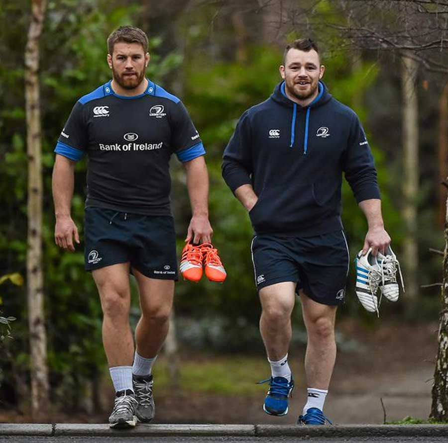 Leinster's Sean O'Brien and Cian Healy arrive for training