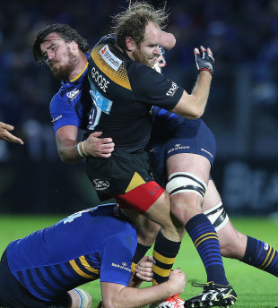 Kane Douglas comes over the top of Andy Goode, Leinster v Wasps, Dublin, October 19, 2014