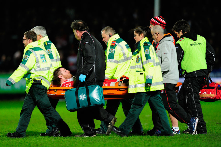 Gloucester and England No.8 Ben Morgan is stretchered off