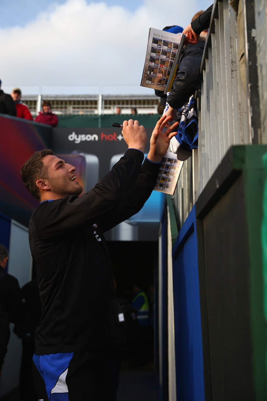 Sam Burgess signs autographs for his adoring public ahead of Bath's match with Wasps at the Rec