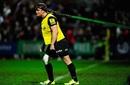 On a leash: Saracens hooker Brett Sharman warms up at Kingsholm