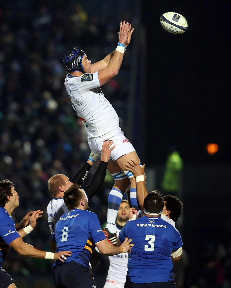 Castres Julien Dumora claims the ball at the lineout