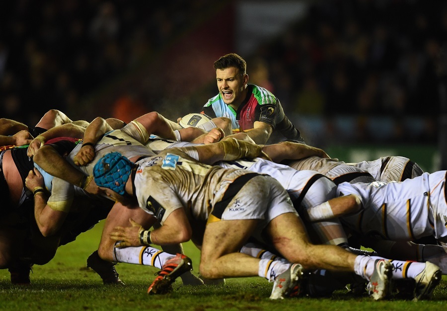 Danny Care prepares to feed the ball at the scrum
