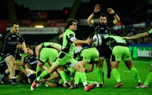 Lee Dickson box kicks against Ospreys, Ospreys v Northampton Saints, European Champions Cup, Liberty Stadium, Swansea, January 18, 2015
