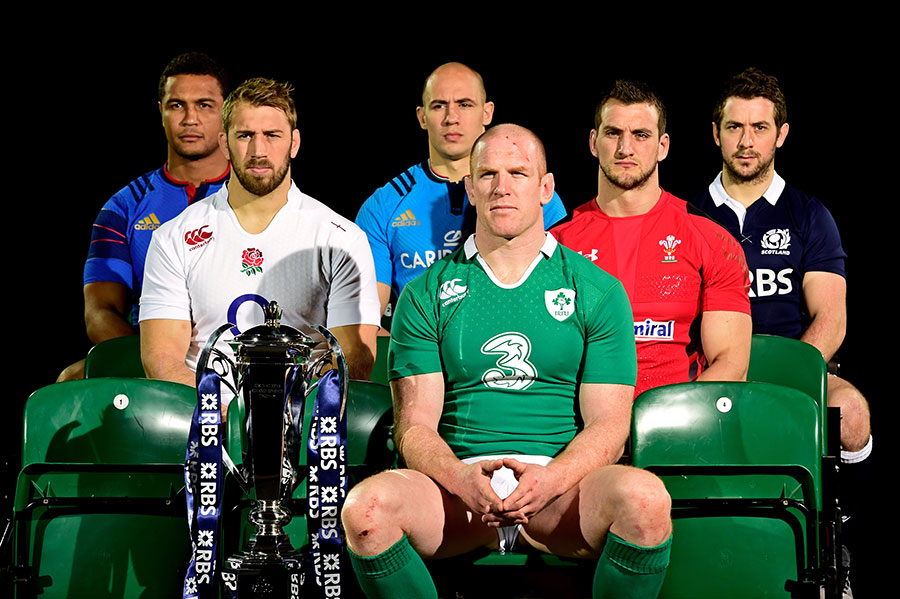 Ireland captain Paul O'Connell leads the captains' line-up at the Six Nations 2015 launch, alongside the new trophy