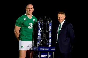 Paul O'Connell and Joe Schmidt pose with the Six Nations trophy, Hurlingham Club, London, January 28, 2015
