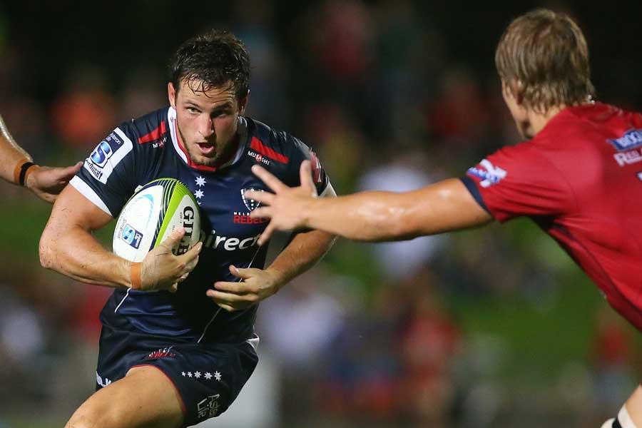 Melbourne Rebels' Mike Harris carts the ball forwards