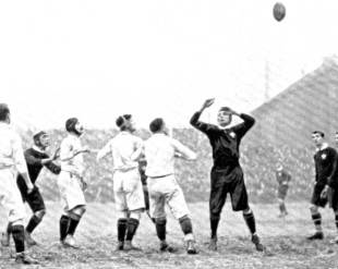 England and Wales contest a lineout in 1905