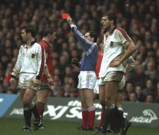 Wales' John Davies is issued his marching orders, Wales v England, February 18, 1995