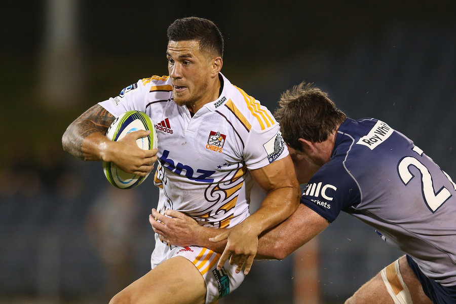 Sonny Bill Williams takes on the Waratahs defence during their final pre-season trial