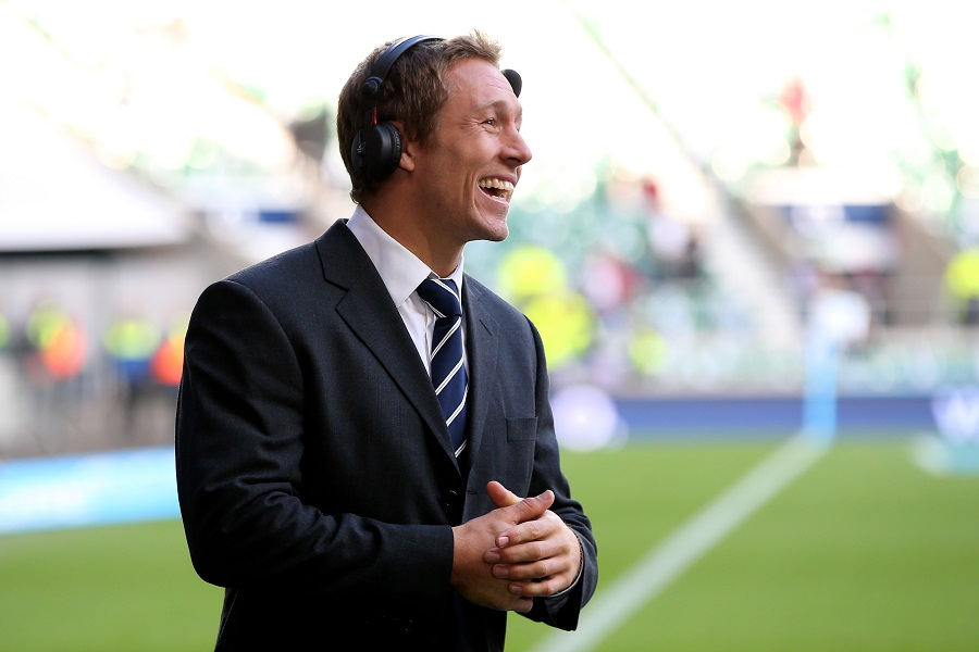 Jonny Wilkinson prepares to commentate on a match