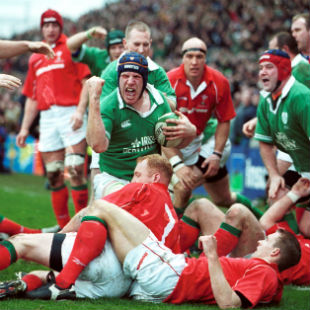 Paul O''Connell celebrates his try, Ireland v Wales, Six Nations, Lansdowne Road, 3 February, 2002