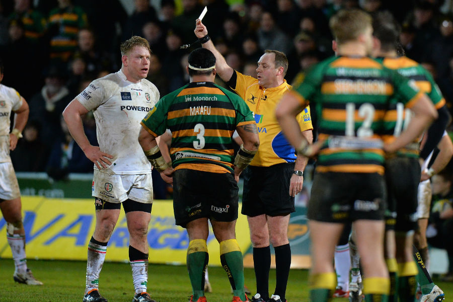 Salesi Ma'afu and Tom Court are shown a yellow card