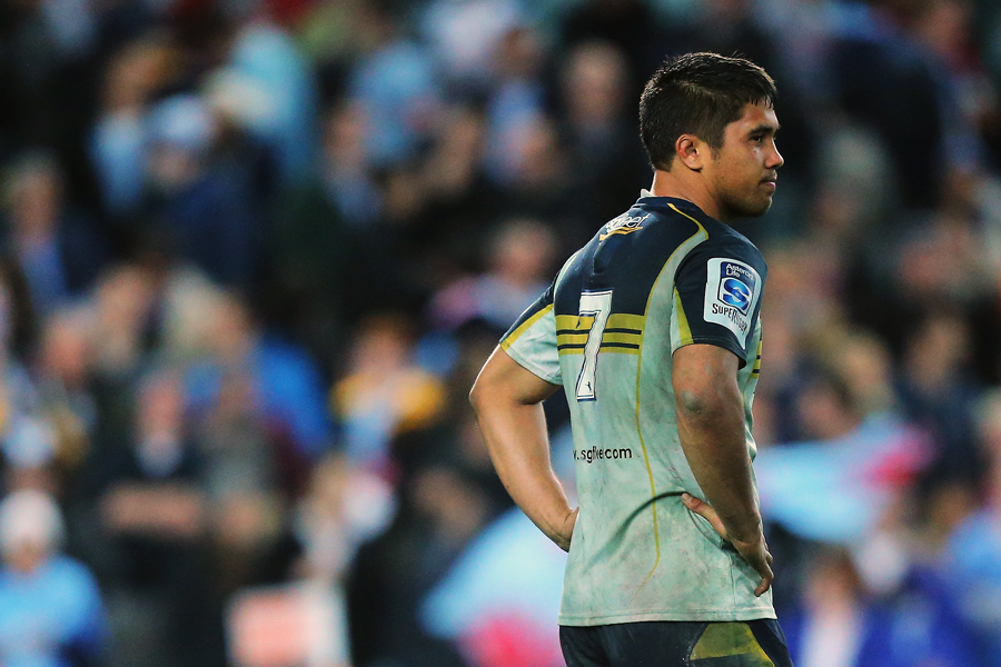 The Brumbies' Jarrad Butler looks dejected after the Super Rugby semi-final defeat