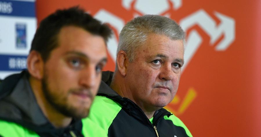 Wales coach Warren Gatland and captain Sam Warburton talk to the media
