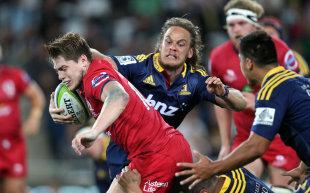 James O'Connor of the Reds on the attack, Highlanders v Reds, Super Rugby, Forsyth Barr Stadium, Dunedin, February 27, 2015