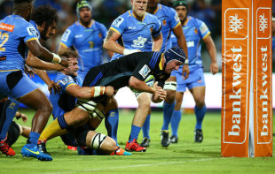 Mark Abbott of the Hurricanes heads to the try line to score, Western Force v Hurricanes, Super Rugby, nib Stadium, Perth, February 27, 2015