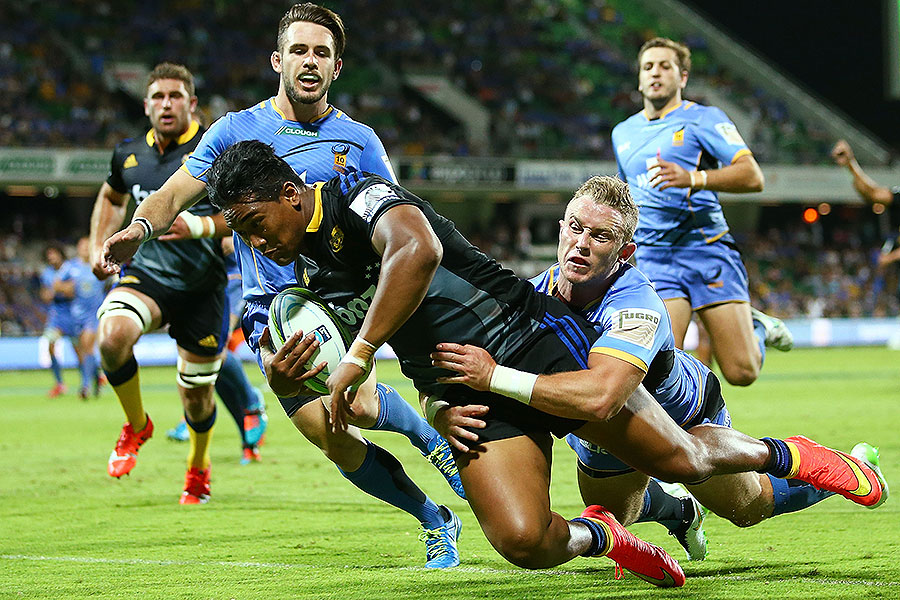 The Hurricanes' Julian Savea goes over for a try