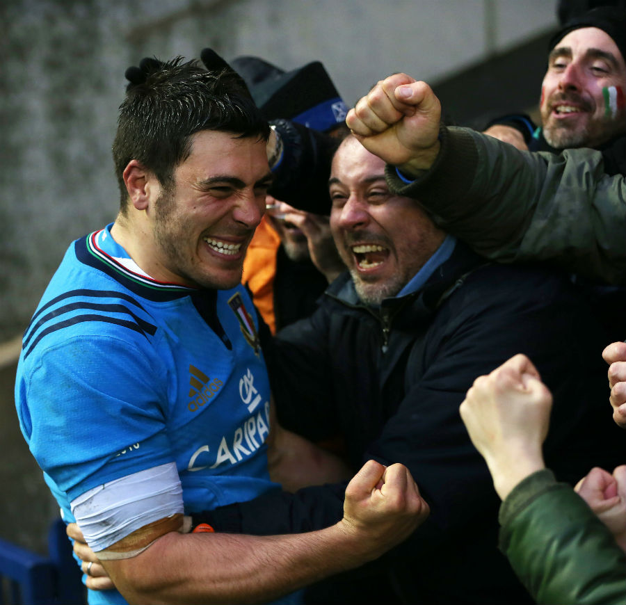 Edoardo Gori is mobbed by Italy fans