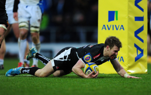 Will Chudley dives over for a try, Exeter Chiefs v Bath Rugby, Aviva Premiership, Sandy Park, February 28, 2015