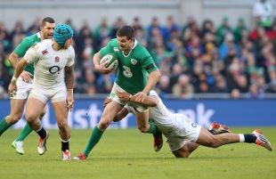 Jonathan Sexton is put under pressure by England, Ireland v England, Six Nations, Aviva Stadium, Dublin, Ireland, March 1, 2014