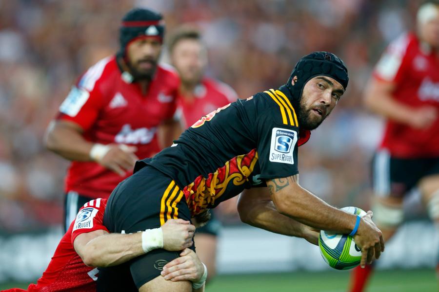 The Chiefs' Charlie Ngatai takes a tackle