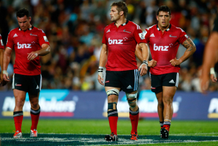 The Crusaders' Richie McCaw leads the team off the pitch, Chiefs v Crusaders, Super Rugby, Waikato Stadium, Hamilton, February 28, 2015