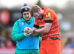 Tom Croft nurses an arm injury, Newcastle Falcons v Leicester Tigers, Aviva Premiership, Kingston Park, Newcastle, March 8, 2015