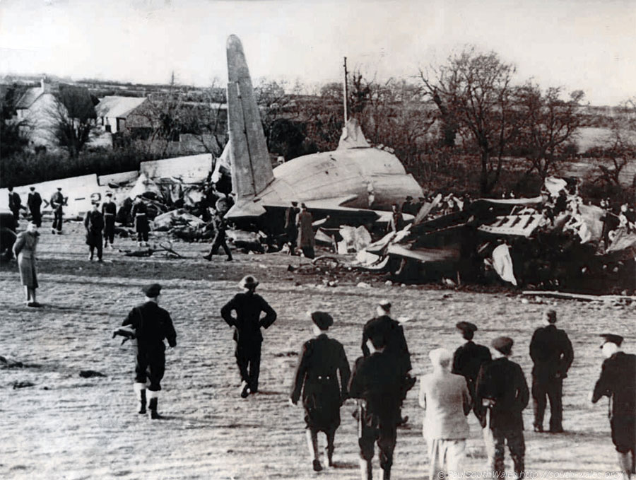 The wreckage of the AVRO Tudor Airliner that crashed in Cardiff killing 80 people