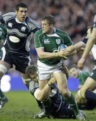 Ireland's Jamie Heaslip is tackled by Scotland's Jason White, Scotland v Ireland, Six Nations, Murrayfield, Edinburgh, Scotland, March 14, 2009