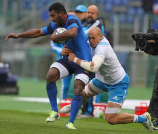 Italy's Sergio Parisse hauls down Noa Nakaitaci, Italy v France, Six Nations, Stadio Olimpico, Rome, March 15, 2015