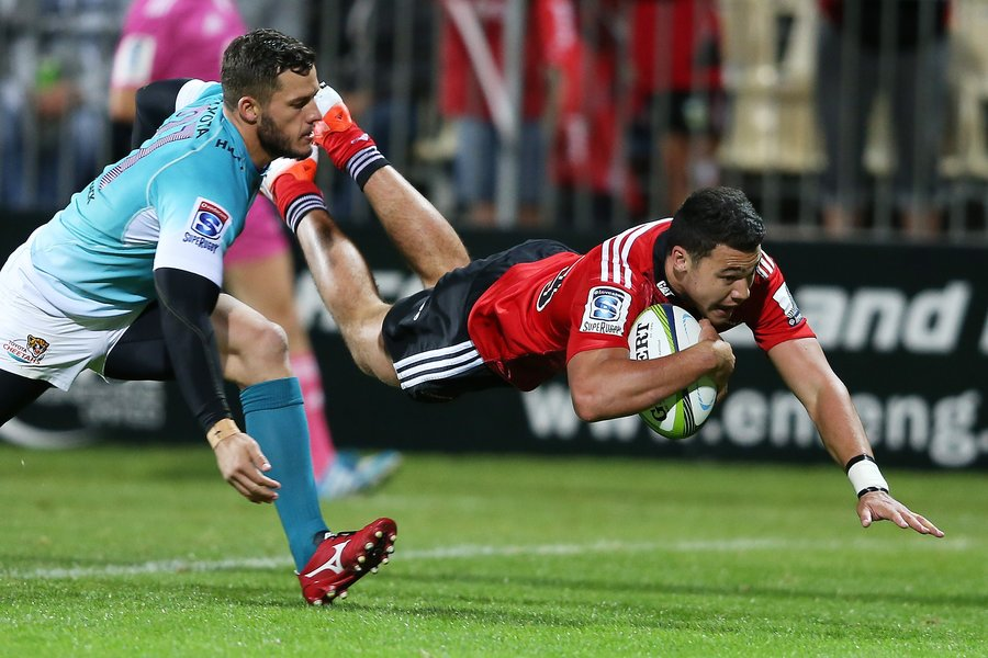 David Havili of the Canterbury Crusaders scores a try
