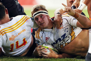The Chiefs' Sam Cane touches down from a driving maul, Sharks v Chiefs, Durban, March 21, 2015