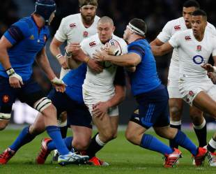 Mike Brown charges forward against France, England v France, Six Nations, Twickenham, London, March 21, 2015
