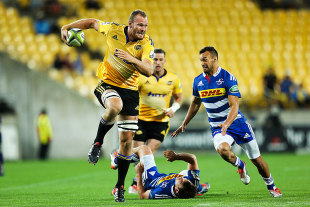 The Hurricanes' James Broadhurst runs into space, Hurricanes v Stormers, Wellington, March 3, 2015