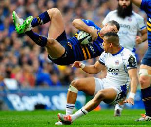 Anthony Watson's tackle sends Rob Kearney flying, Leinster v Bath, Champions Cup, Dublin, April 4, 2015