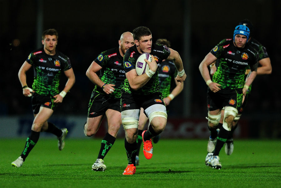 Dave Ewers of Exeter Chiefs (c) makes a break during the European Rugby Challenge Cup match between Exeter Chiefs and Newcastle Falcons